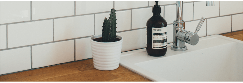 Bathroom Vanity Sink with Tile Backsplash